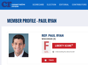 Paul Ryan rated F by Conservative Review.